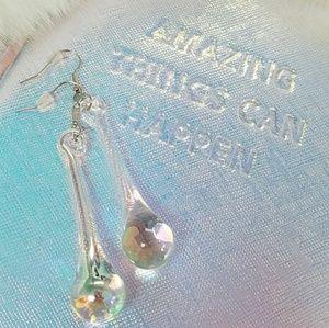 Iridescent Glass Teardrop Raindrop Earrings